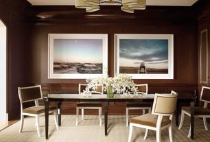 Traditional Dining Room with Hardwood floors, Standard height, Wainscotting, Crown molding, Chandelier