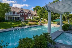Traditional Swimming Pool with French doors, Fountain, specialty window, Deck Railing, Lap pool, Trellis, Outdoor kitchen