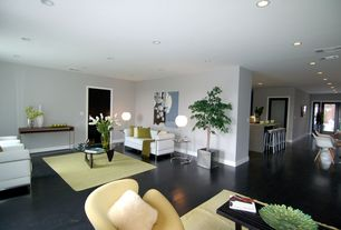 Modern Living Room with can lights, Noguchi table, Standard height, Swan chair, Paint, Eileen gray end table, flat door