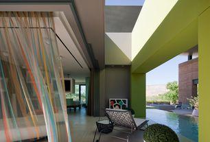 Modern Patio with exterior stone floors, Woodard bradford chaise lounge, Sheer curtains, Diaidi, Pathway
