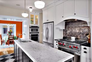 Traditional Kitchen with full backsplash, Msi marble countertops in carrara white, Kitchen island, Standard height, Flush