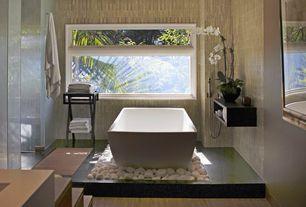 Asian Master Bathroom with frameless showerdoor, Nexera 223506 Avenue Rectangular Floating Shelves, Black, Set of 2, Flush