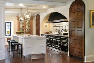 Mediterranean Kitchen with Pendant light, Exposed beam, Flush, Undermount sink, Complex Marble, Flat panel cabinets, L-shaped