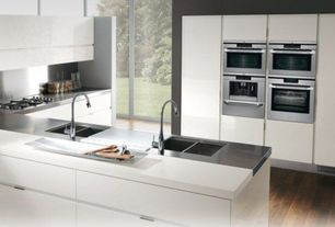 Contemporary Kitchen with Stainless Steel, Flush, 4 in. UltraCompact Surface Countertop in Zenith, European Cabinets