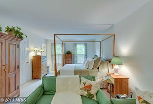 Country Master Bedroom with six panel door, double-hung window, Carpet, Built-in bookshelf, Standard height