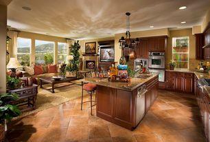 Mediterranean Kitchen with Breakfast bar, Large Ceramic Tile, Arizona tile giallo portofino granite, Pendant light, L-shaped