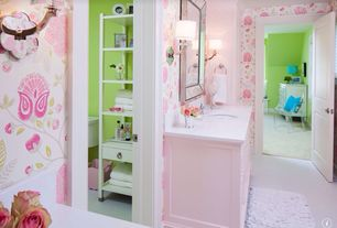 Traditional Kids Bathroom with specialty door, interior wallpaper, Undermount sink, Wall sconce, Corian counters, Carpet