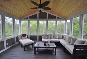 Contemporary Porch with Telescope casual la vie deep seating sectional sofa with cushion, Paint, Screened porch