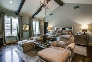 Traditional Master Bedroom with Exposed beam, Baldwin Upholstered Club Chair and Ottoman, Amelie mirrored coffee table