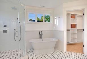 Traditional Full Bathroom with Handheld showerhead, Freestanding, Restoration Hardware Palais Pedestal Tub, Rain shower