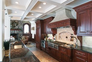 Traditional Kitchen with Box ceiling, Arched window, Undermount sink, Custom hood, Raised panel, Slate Tile, One-wall