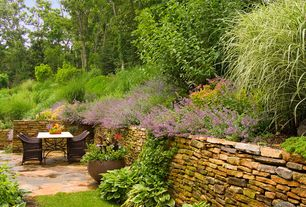 Cottage Patio with Hosta Grand Tiara, exterior stone floors, Variegated Maiden Grass