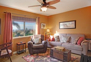 Tropical Home Office with Carpet, Ceiling fan