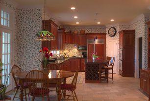 Country Kitchen with Breakfast nook, Kitchen island, Simple Granite, Raised panel, Breakfast bar, travertine tile floors