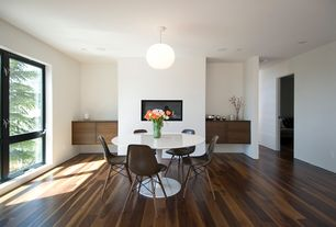 Modern Dining Room with Dream Home - Charisma PLUS  8mm+pad Webster Park Walnut, Built-in bookshelf, flush light