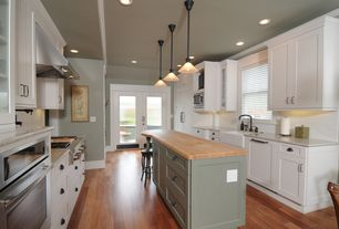 Country Kitchen with Subway Tile, Flush, French doors, Flat panel cabinets, Breakfast bar, U-shaped, Pendant light