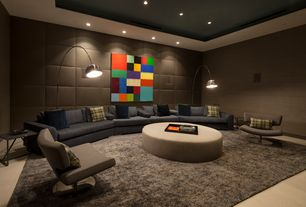 Modern Living Room with Arco floor lamp, D'urso swivel lounge, sandstone floors, interior wallpaper