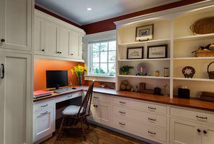 Craftsman Home Office with can lights, Built-in bookshelf, Standard height, Casement, Crown molding, Hardwood floors
