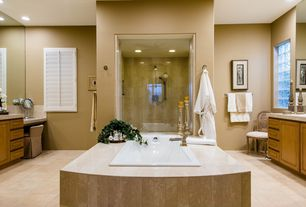 Contemporary Master Bathroom with Handheld showerhead, Durasupreme Cabinets - Marquis Style Panel, Kohler Maestro Drop-In Tub