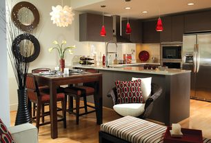 Modern Kitchen with electric cooktop, High ceiling, Large Ceramic Tile, U-shaped, Built In Refrigerator, European Cabinets