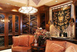 Traditional Wine Cellar with Carpet, Chandelier, Built-in bookshelf
