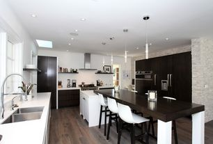 Contemporary Kitchen with Corian-Solid Surface Countertop in Glacier White, U-shaped, Simple marble counters, Simple Marble