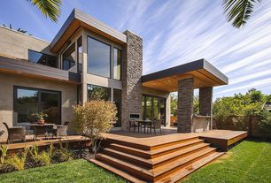 Contemporary Patio with Fence