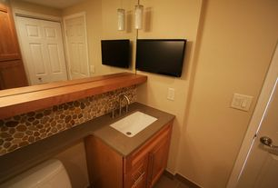 Modern Powder Room with Caeserstone classics ginger, Flush, Powder room, Pendant light, Terracotta Tile, Undermount sink
