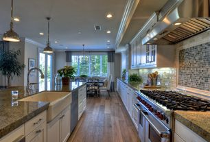 Traditional Kitchen with Farmhouse sink, French doors, European Cabinets, Nimbus gray blend squares marble & glass tile