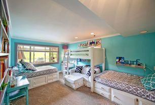 Cottage Kids Bedroom with Standard height, Carpet, Crown molding, Lea 245-976r willow run twin bunk bed in linen white