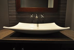 Contemporary Full Bathroom with Scarabeo by nameeks kylis above counter bathroom sink, Simple granite counters, Sea Grass