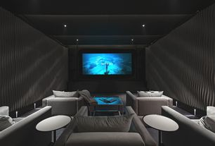 Contemporary Home Theater with Zoetico tulip table, Modulararts dune interlocking panel, Concrete floors