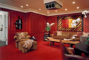 Eclectic Home Theater with Wainscotting, Carpet, Crown molding, Chair rail