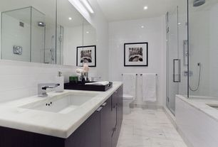 Contemporary Full Bathroom with Double sink, Lush Cloud - Glass Subway Tile, drop in bathtub, Black Lacquer Serving Tray