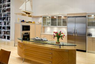 Modern Kitchen with High ceiling, European Cabinets, Custom wood veneer kitchen island, Wall sconce, L-shaped, Glass panel