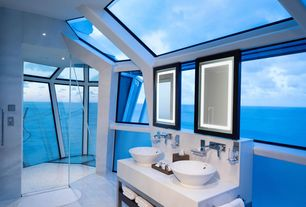 Contemporary Master Bathroom with Vessel sink, frameless showerdoor, Handheld showerhead, Pental quartz super white bq200