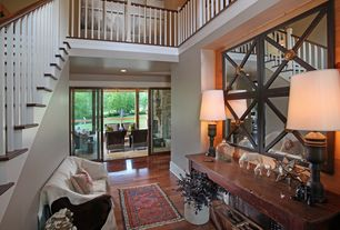 Craftsman Entryway with French doors, Casement, High ceiling, Hardwood floors, can lights
