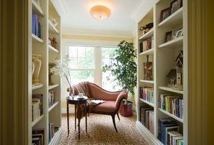 Traditional Library with A & e cape cod wall bookcase, 4 ft. Green Smilax Bush, Carpet, Built-in bookshelf, flush light