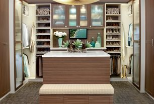 "Modern Closet with transFORM Slanted Shoe Shelves, transFORM's ""Modern"" Style Handles & Knobs, transFORM Center Island"