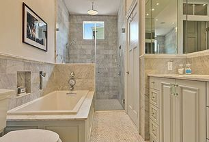 Traditional Master Bathroom with penny tile floors, Master bathroom, Wall Tiles, Complex marble counters, Raised panel, Flush