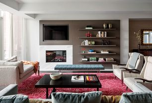 Contemporary Living Room with Red area rug, Hand-tufted asten red floral rug (7x9), Exposed beam, Marble fireplace surround