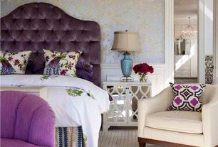 Eclectic Master Bedroom with Wainscotting, Carpet, interior wallpaper, White mirrored cabinet