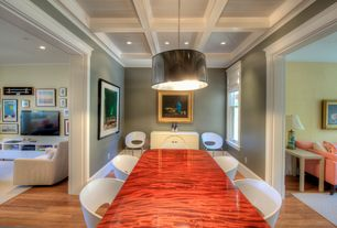 Eclectic Dining Room with Pendant light, Crown molding, Hardwood floors, Box ceiling