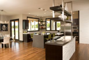 Contemporary Kitchen with electric cooktop, Corian counters, L-shaped, can lights, Framed Partial Panel, Kitchen island
