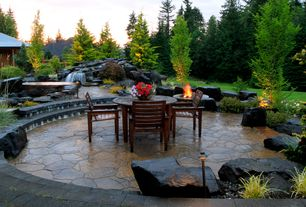 Rustic Patio with Pathway, exterior stone floors, Fountain, Fire pit