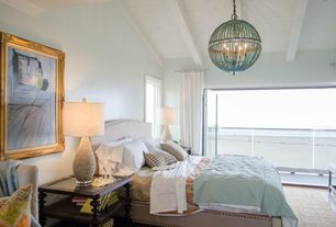 Contemporary Master Bedroom with French doors, High ceiling, Chandelier, Crown molding, Exposed beam, Carpet