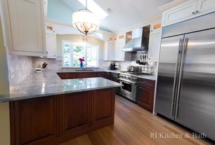 Traditional Kitchen with Crown molding, Raised panel, Subway Tile, Bay window, Pendant light, can lights, Glass panel