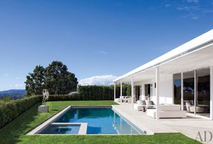 Contemporary Swimming Pool with sliding glass door, Pool with hot tub, Fence, exterior concrete tile floors