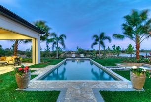 Tropical Swimming Pool with Fence, Pool with hot tub, exterior stone floors