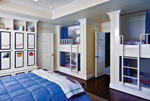 Traditional Kids Bedroom with Custom Bunk Beds, Standard height, Paint 1, six panel door, Jaipur Rugs, can lights, Bunk beds